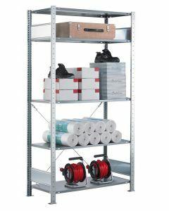 Fachbodenregal Stecksystem, Grundregal, einseitig nutzbar, H2000xB750xT500, 5 Fachböden, Fachlast 150kg, sendzimirverzinkt