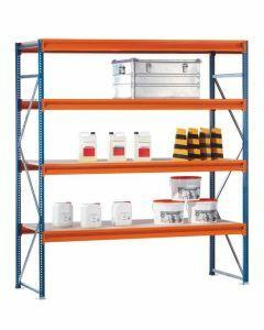 Weitspannregal W100, Grundregal, Spanplatten, H2500xB1785xT1200 mm, 4 Ebenen, blau / orange / verzinkt