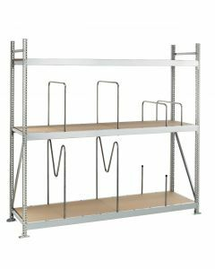 Weitspannregal WS 3000, Grundregal, Spanplatten, H2000xB2000xT1000 mm, 3 Fachebenen, verzinkt