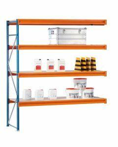 Weitspannregal W100, Anbauregal, Stahlpaneele, H2500xB2500xT1200 mm, 4 Ebenen, blau / orange / verzinkt