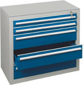 SCHULTE Schubladenblock RAL 7035 lichtgrau / RAL 5010 enzianblau